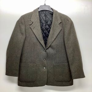 LL BEAN SIZE 14 WOOL TWEED 3 BUTTON BLAZER JACKET
